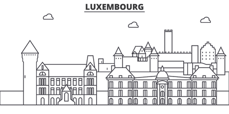 Luxembourg architecture line skyline illustration.