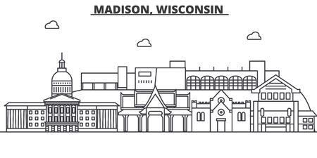マディソン、ウィスコンシン州建築線スカイラインの図。  イラスト・ベクター素材