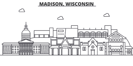 Madison, Wisconsin architecture line skyline illustration.
