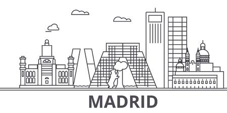 마드리드 아키텍처 라인 스카이 라인 그림입니다. 일러스트