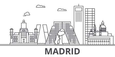 Madrid architecture line skyline illustration.