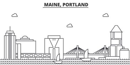 メイン州ポートランド建築線スカイラインの図。  イラスト・ベクター素材