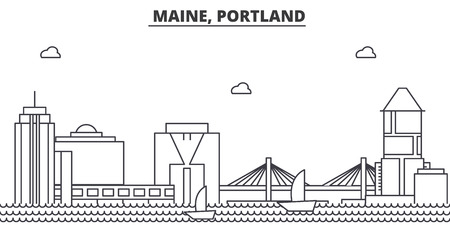 Maine, Portland architecture line skyline illustration. Illustration