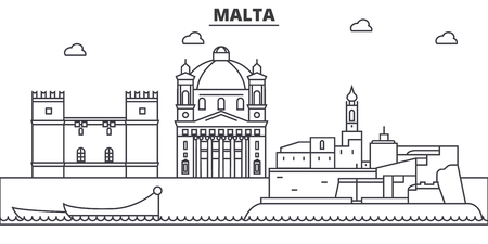 Malta architecture line skyline illustration. Иллюстрация
