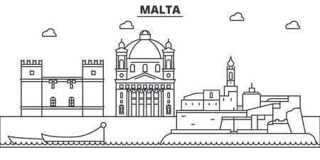 Malta architecture line skyline illustration. Ilustração