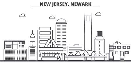 ニュージャージー州ニューアーク建築線スカイラインの図。  イラスト・ベクター素材