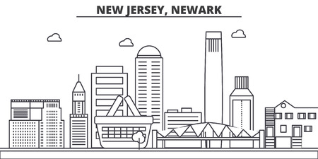 New Jersey, Newark architecture line skyline illustration.