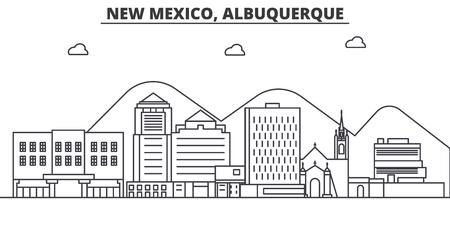 ニュー メキシコ州のアルバカーキ建築線スカイラインの図。