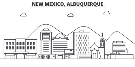 New Mexico Albuquerque architecture line skyline illustration.