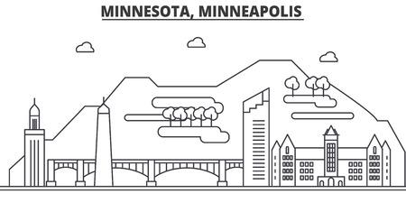 Minnesota, Minneapolis architecture line skyline illustration.