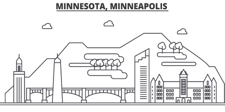 Minnesota, Minneapolis architecture line skyline illustration.