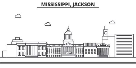 Mississippi, Jackson architecture line skyline illustration.