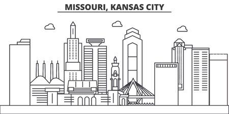 Missouri, Kansas City architecture line skyline illustration.