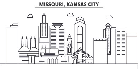 Missouri, Kansas City architecture line skyline illustration.