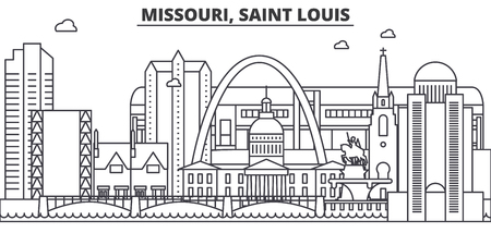 Missouri, Saint Louis architecture line skyline illustration. Иллюстрация