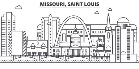 Missouri, Saint Louis architecture line skyline illustration. Illustration