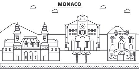 Monaco architecture line skyline illustration.