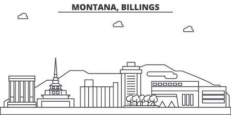 몬태나, 빌링스 아키텍처 라인 스카이 라인 그림입니다.