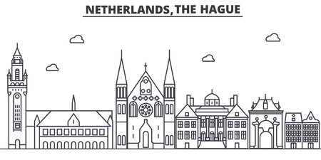 Nederland, Den Haag architectuur lijn skyline illustratie. Stock Illustratie