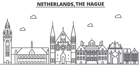 Netherlands, Hague architecture line skyline illustration.