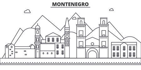 Montenegro architecture line skyline illustration.