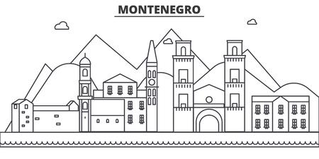 Montenegro de horizonillustratie van de architectuurlijn.