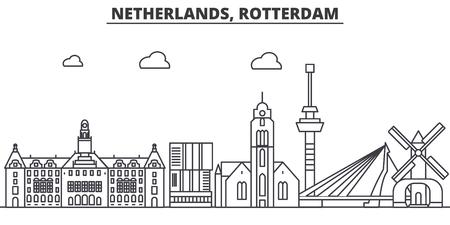 Netherlands, Rotterdam architecture line skyline illustration. Stock Illustratie