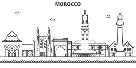 モロッコ建築線スカイラインの図。  イラスト・ベクター素材