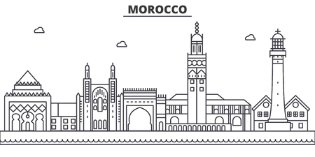 Morocco architecture line skyline illustration.