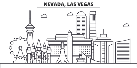 Nevada, Las Vegas architecture line skyline illustration.