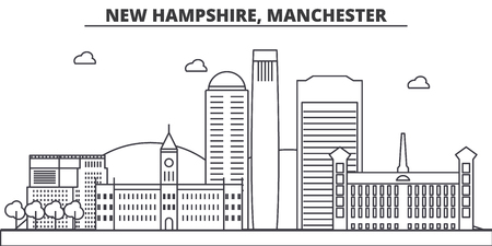 New Hampshire, Manchester architecture line skyline illustration. Ilustrace