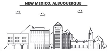 New Mexico, Albuquerque architecture line skyline illustration. Иллюстрация