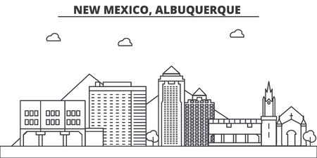 New Mexico, Albuquerque architecture line skyline illustration. Illustration