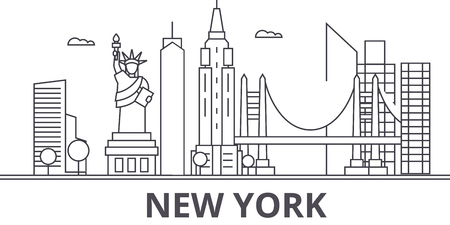 New York architecture line skyline illustration.
