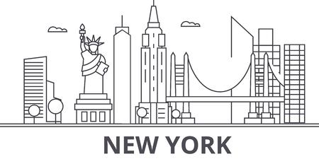 New York architecture line skyline illustration.