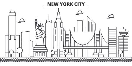 ニューヨーク州ニュー ヨーク市建築線スカイライン イラスト。