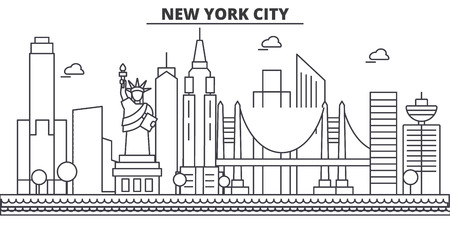 New York, New York City architecture line skyline illustration. 일러스트