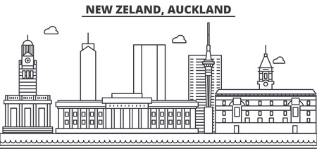 New Zealand, Auckland architecture line skyline illustration.