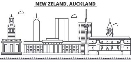 Nuova Zelanda, illustrazione di architettura di linea skyline di Auckland. Archivio Fotografico - 87748232