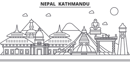 Nepal, Kathmandu architecture line skyline illustration. Çizim