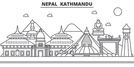 Nepal, Kathmandu architecture line skyline illustration. Vettoriali