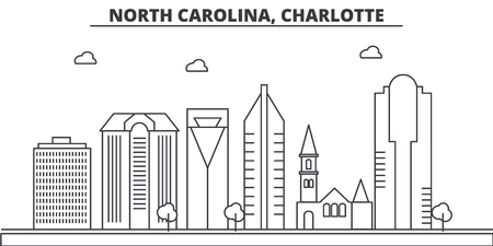 North Carolina, Charlotte architecture line skyline illustration. Illustration