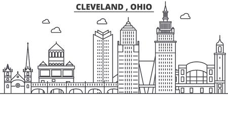 オハイオ州クリーブランド建築線スカイラインの図。