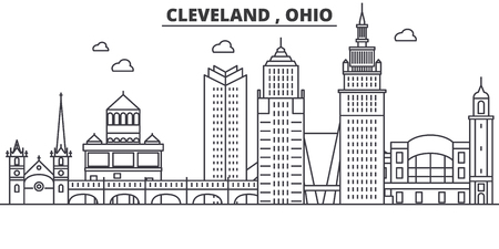 Ohio Cleveland architecture line skyline illustration.