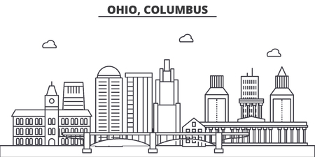 Ohio, Columbus architecture line skyline illustration.