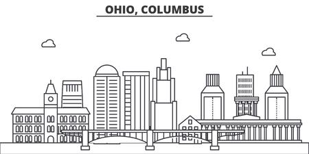 Ohio, Columbus architecture line skyline illustration.
