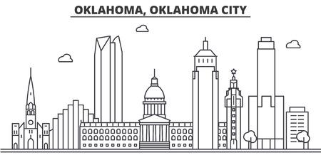オクラホマ州オクラホマ市建築線スカイライン イラスト。