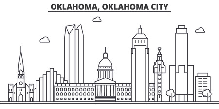 Oklahoma, Oklahoma City architecture line skyline illustration. Иллюстрация