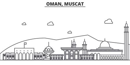 Oman, Muscat architecture line skyline illustration.