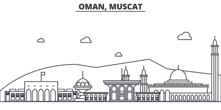 Oman, Muscat architecture line skyline illustration.